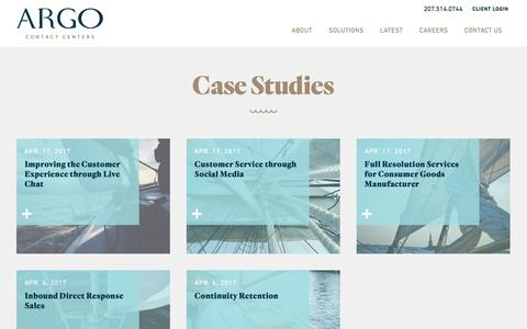 Screenshot of Case Studies Page argocontact.com - Case Studies Archive - Argo Contact Centers - captured May 13, 2017