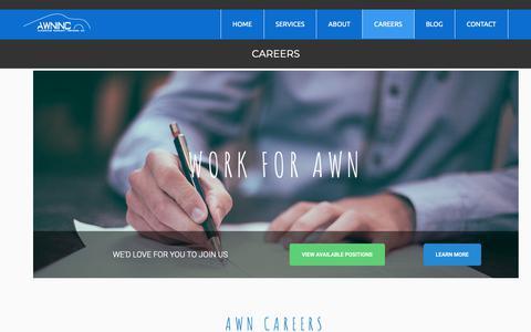Screenshot of Jobs Page awninc.com - Careers - Automotive Warranty NetworkAutomotive Warranty Network - captured Oct. 4, 2018