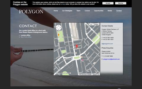 Screenshot of Contact Page polygoninv.com - Polygon | Global Private Investment Firm  - London office - captured Oct. 2, 2014