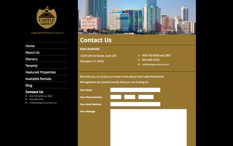 Screenshot of Contact Page castlegrouprentals.com - Castle Residential | Fort Lauderdale, Boyton Beach, Miami, Broward, West Palm Beach | Contact Us - captured Oct. 2, 2014