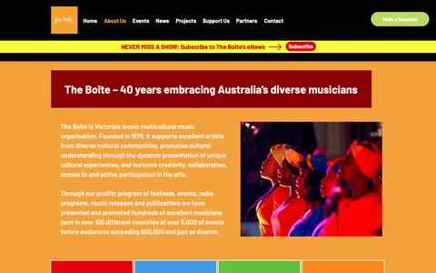 Screenshot of About Page boite.com.au - The Boite | About Us - captured Oct. 31, 2018