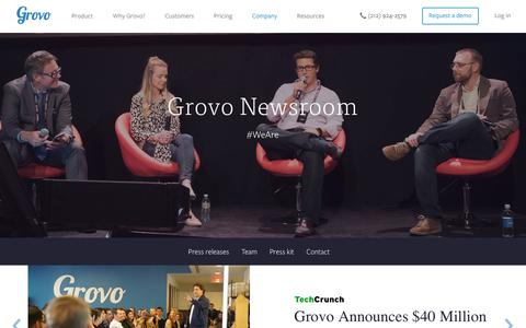 Screenshot of Press Page grovo.com - In the Press | Media Mentions - Grovo - captured July 1, 2016