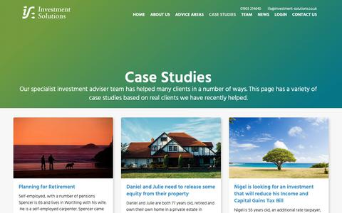 Screenshot of Case Studies Page investment-solutions.co.uk - Case Studies | Investment Solutions Worthing & South Coast - captured Oct. 12, 2018