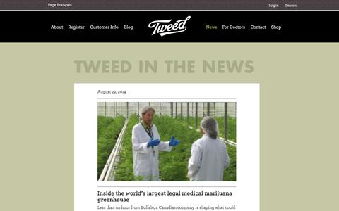 Screenshot of Press Page tweed.com - Tweed in the News - captured Sept. 24, 2014