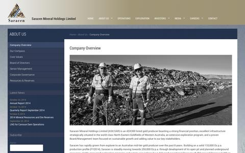 Screenshot of About Page saracen.com.au - Saracen Mineral Holdings :: Company Overview - captured Nov. 2, 2014