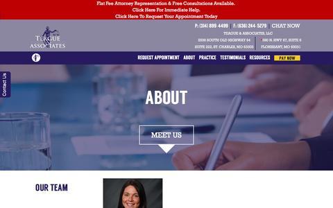 Screenshot of About Page teaguelawassociates.com - About - Teague & Associates - captured Feb. 14, 2016