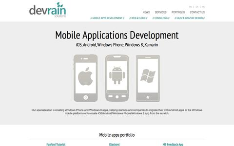 Screenshot of Services Page devrain.com - Services | DevRain Solutions - captured Oct. 5, 2014