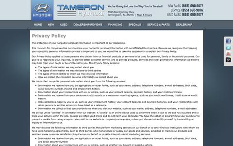 Screenshot of Privacy Page tameronhyundai.com - Privacy Policy - captured Oct. 1, 2014