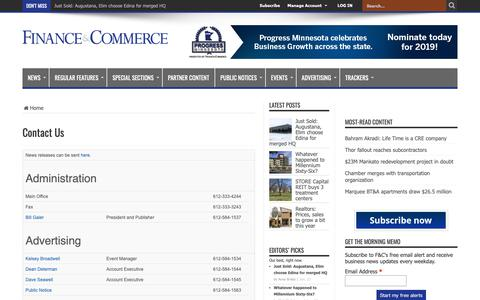 Screenshot of Contact Page finance-commerce.com - Contact Us – Finance & Commerce - captured Jan. 23, 2019