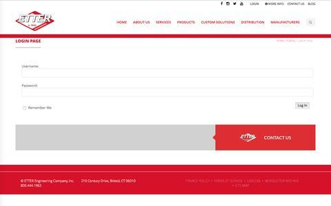 Screenshot of Login Page etterengineering.com - Login Page - Etter Engineering Company - captured April 5, 2016