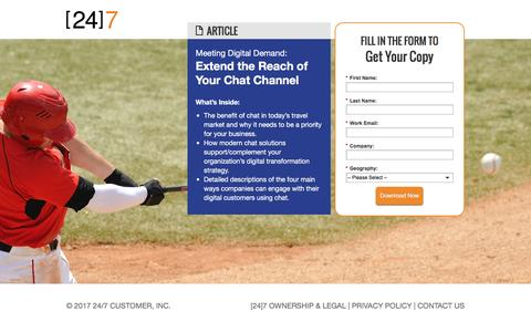 Screenshot of Landing Page 247-inc.com - Extend the Reach of Your Chat Channel - captured Feb. 6, 2017