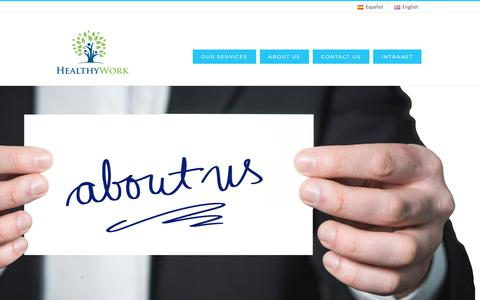 Screenshot of About Page healthywork.es - About us - HEALTHYWORK - captured March 20, 2018