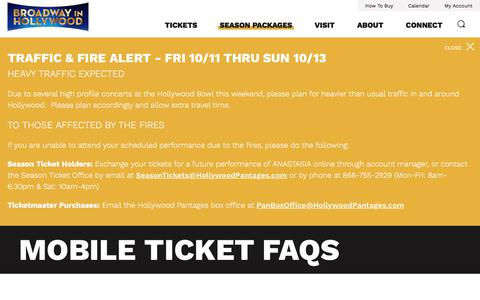 Screenshot of FAQ Page hollywoodpantages.com - Mobile Ticket FAQs | Hollywood Pantages - captured Oct. 13, 2019