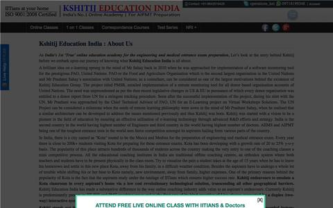 Screenshot of About Page kshitij-pmt.com - About Us | Kshitij Education India - captured Jan. 15, 2016