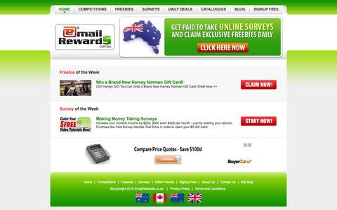 Screenshot of Home Page Site Map Page emailrewards.com.au - Email Rewards - captured Sept. 29, 2014