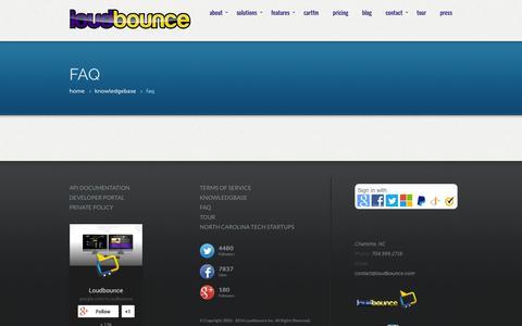 Screenshot of FAQ Page loudbounce.com - FAQ - captured Oct. 3, 2014