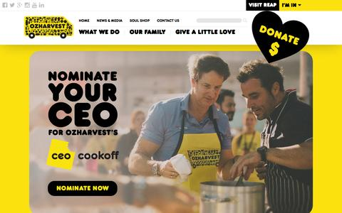 Screenshot of Home Page ozharvest.org - Home - OzHarvest - captured Feb. 19, 2016