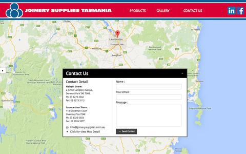 Screenshot of Contact Page joinerysupplies.com.au - Contact Us  - Joinery Supplies Tasmania - captured Oct. 6, 2014