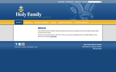 Screenshot of Menu Page holyfamilydbq.org - Menus & Nutrition - Holy Ghost Elementary - Holy Family Catholic Schools - captured March 22, 2017