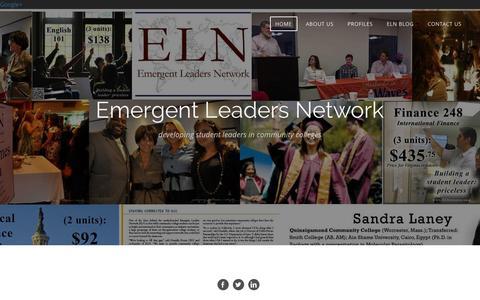 Screenshot of Home Page elnonline.org - Emergent Leaders Network - HOME - captured Jan. 28, 2016