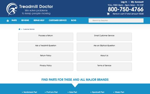 Screenshot of Support Page treadmilldoctor.com - Customer Service - captured Oct. 31, 2014