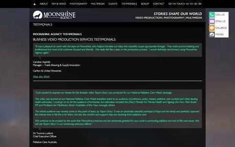 Screenshot of Testimonials Page moonshineagency.com.au - TESTIMONIALS - Moonshine Agency - captured Dec. 20, 2015