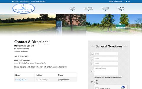Screenshot of Contact Page Maps & Directions Page golfmorrisonlake.com - Morrison Lake Golf Club | Public 18 Holes | Grand Rapids & Lansing Course - Contact & Directions - captured Feb. 11, 2018