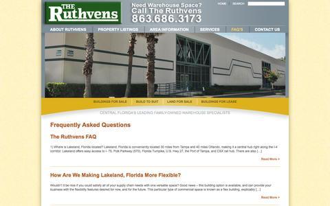 Screenshot of FAQ Page ruthvens.com - FAQ's - The Ruthvens - captured Oct. 9, 2014