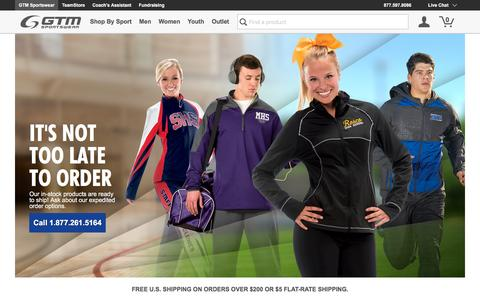 Screenshot of Home Page gtmsportswear.com - Warm Ups, Uniforms, Custom Jerseys, Tees, Embroidery | GTM Sportswear - captured Oct. 27, 2015