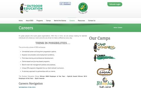 Screenshot of Jobs Page oeg.org.au - Outdoor Education Careers - captured Oct. 6, 2014