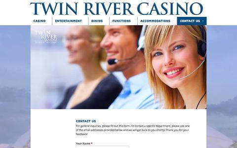 Screenshot of Contact Page twinriver.com - Contact Us - Twin River Casino - captured Oct. 6, 2014