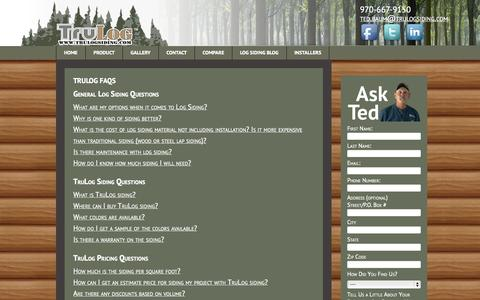Screenshot of FAQ Page trulogsiding.com - Frequently Asked Questions about TruLog™ Siding - captured Nov. 5, 2014