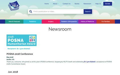 Screenshot of Press Page global-help.org - Newsroom - Global HELP - captured Sept. 28, 2018