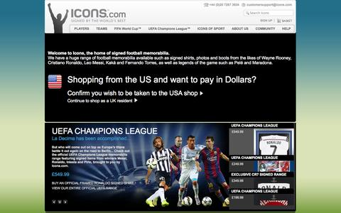 Screenshot of Home Page icons.com - Signed By The World's Best | icons.com - captured Sept. 23, 2014