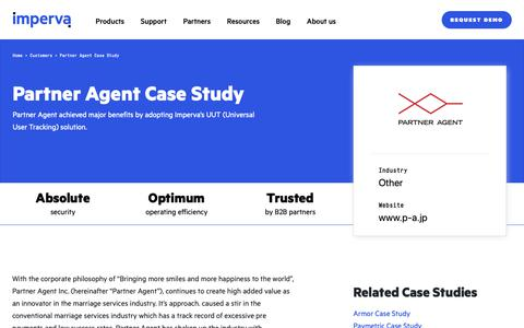 Screenshot of Case Studies Page imperva.com - Partner Agent Case Study | Resource Center | Imperva - captured April 1, 2019