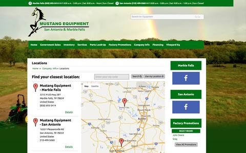 Screenshot of Locations Page mustangequipment.com - Locations Mustang Equipment - captured July 6, 2016