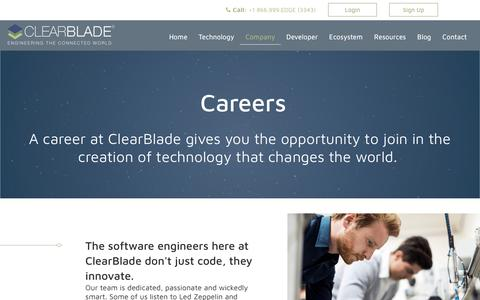 Screenshot of Jobs Page clearblade.com - Careers - captured July 19, 2018
