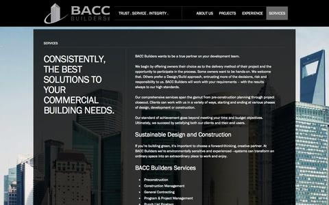 Screenshot of Services Page baccbuilders.com - BACC Builders | Services - captured Sept. 30, 2014