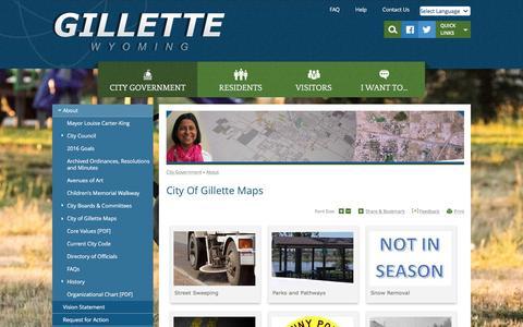 Screenshot of Maps & Directions Page gillettewy.gov - Gillette, WY : City of Gillette Maps - captured Nov. 6, 2016