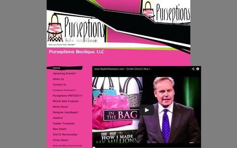 Screenshot of Home Page purseptionsboutique.com - Purseptions Boutique, LLC - Home - Indianapolis, IN - captured Oct. 3, 2014