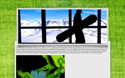 Screenshot of Products Page papiwax.com - Products - Papi Wax Snowboard and Ski Wax - captured Oct. 1, 2014