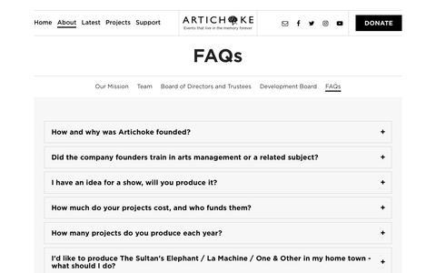 Screenshot of FAQ Page artichoke.uk.com - FAQs - Artichoke - captured Oct. 8, 2017