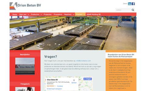 Screenshot of Contact Page orionbeton.com captured Oct. 19, 2018