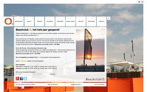 Screenshot of Home Page beachclubo.nl - Beachclub O - Diner, Lunch en Events aan strand van Noordwijk aan Zee - captured Sept. 30, 2014