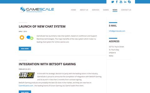 Screenshot of Press Page gamescale.com - News | Gamescale - captured Oct. 2, 2014