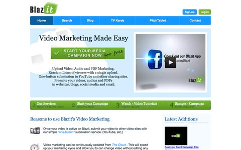 Screenshot of Home Page blazit.com - Video, Audio and PDF Business Marketing in the cloud | Blazit - captured Sept. 25, 2014