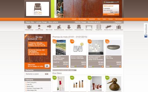 Screenshot of Home Page sitondesign.be - Mobilier design, objets et cadeaux design, lampes design, meubles de jardin - captured Jan. 26, 2015