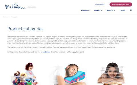 Screenshot of Products Page milliken.com - Milliken Chemical - Our product portfolio - captured Nov. 15, 2018
