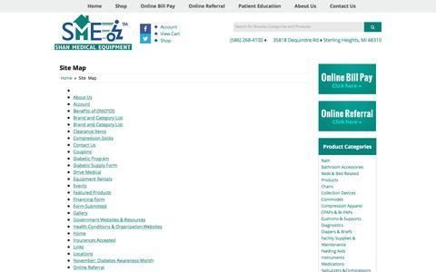 Screenshot of Site Map Page shanmedical.com - Site Map Shan Medical Equipment & Supplies - captured Nov. 18, 2016