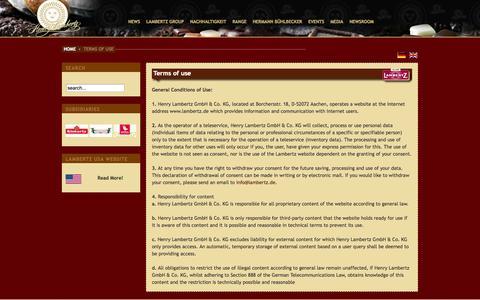 Screenshot of Terms Page lambertz.de - Terms of use - captured Oct. 2, 2014